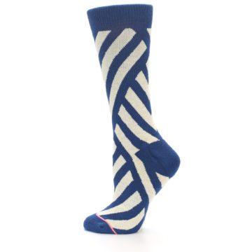 Image of Blue Beige Angle Stripe Women's Casual Socks (side-2-13)