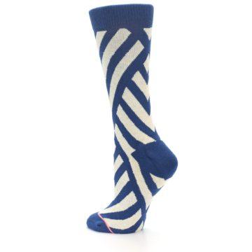 Image of Blue Beige Angle Stripe Women's Casual Socks (side-2-back-14)