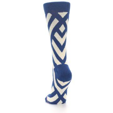 Image of Blue Beige Angle Stripe Women's Casual Socks (back-17)