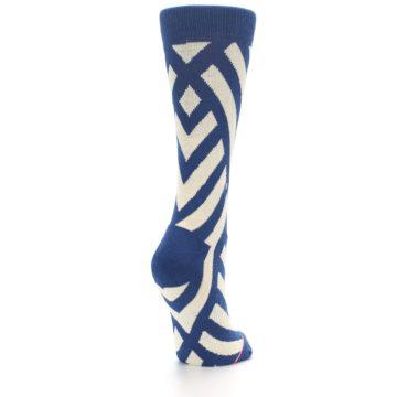 Image of Blue Beige Angle Stripe Women's Casual Socks (side-1-back-21)