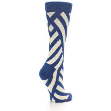 Image of Blue Beige Angle Stripe Women's Casual Socks (side-1-back-22)