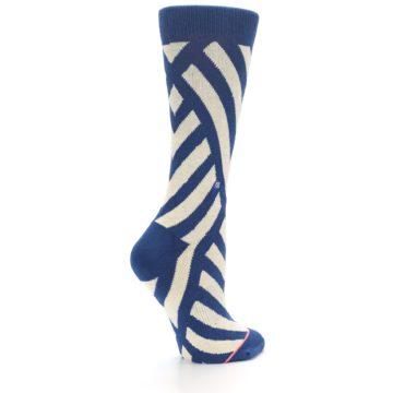 Image of Blue Beige Angle Stripe Women's Casual Socks (side-1-23)