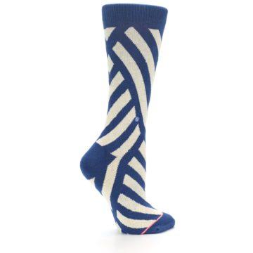 Image of Blue Beige Angle Stripe Women's Casual Socks (side-1-24)