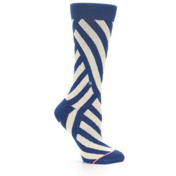 Image of Blue Beige Angle Stripe Women's Casual Socks (side-1-25)