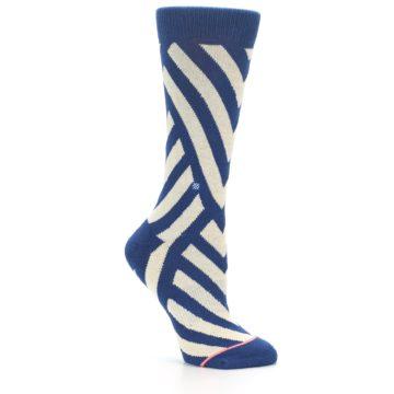 Image of Blue Beige Angle Stripe Women's Casual Socks (side-1-26)