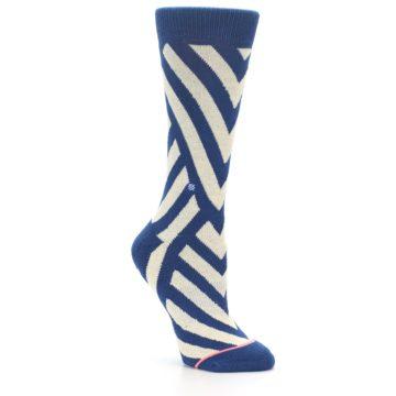 Image of Blue Beige Angle Stripe Women's Casual Socks (side-1-27)