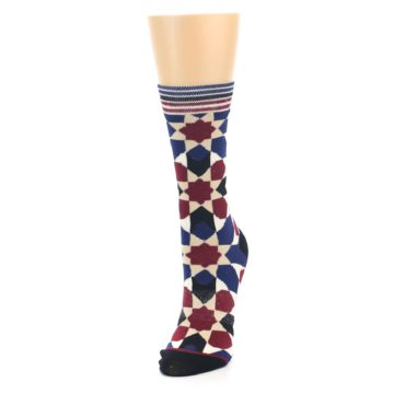 Image of Blue Maroon Moroccan Women's Casual Socks (side-2-front-07)