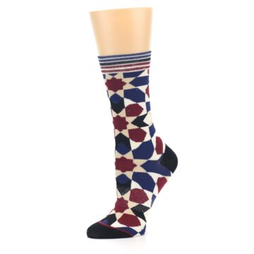 Image of Blue Maroon Moroccan Women's Casual Socks (side-2-10)