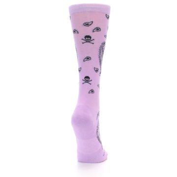 Image of Light Purple Black Skull Paisley Women's Casual Socks (side-1-back-20)