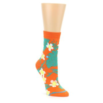 Image of Orange Green Tropical Women's Casual Socks (side-1-front-01)