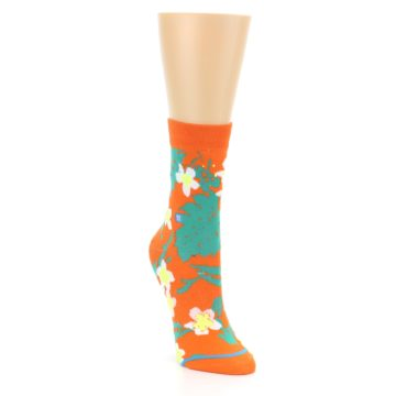 Image of Orange Green Tropical Women's Casual Socks (side-1-front-02)