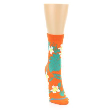 Image of Orange Green Tropical Women's Casual Socks (side-1-front-03)