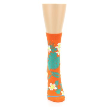 Image of Orange Green Tropical Women's Casual Socks (front-04)