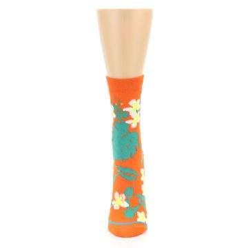 Image of Orange Green Tropical Women's Casual Socks (front-05)