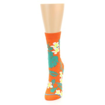 Image of Orange Green Tropical Women's Casual Socks (side-2-front-06)