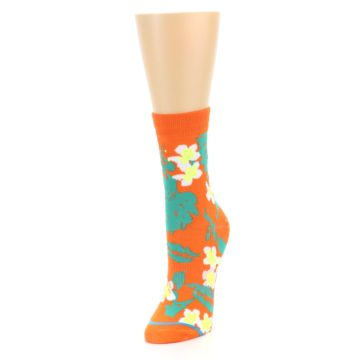 Image of Orange Green Tropical Women's Casual Socks (side-2-front-07)