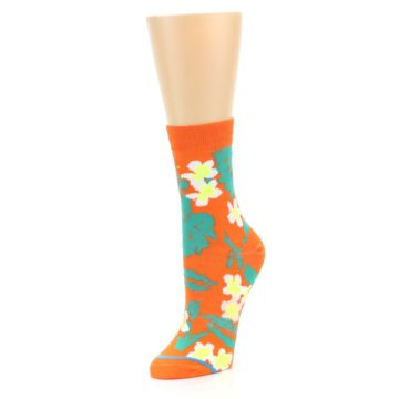 Image of Orange Green Tropical Women's Casual Socks (side-2-front-08)