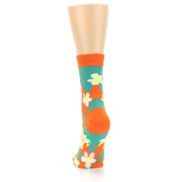 Image of Orange Green Tropical Women's Casual Socks (back-17)