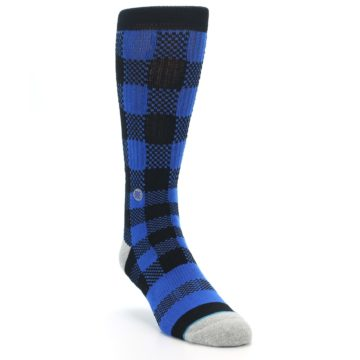 Image of Black Blue Checkered Men's Casual Socks (side-1-front-02)