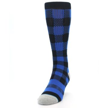 Image of Black Blue Checkered Men's Casual Socks (side-2-front-06)