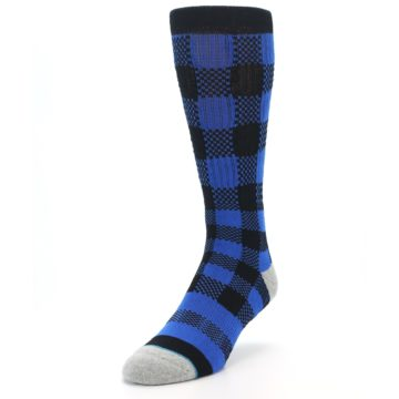 Image of Black Blue Checkered Men's Casual Socks (side-2-front-07)