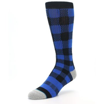 Image of Black Blue Checkered Men's Casual Socks (side-2-front-08)