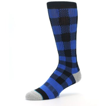 Image of Black Blue Checkered Men's Casual Socks (side-2-09)