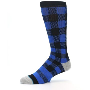 Image of Black Blue Checkered Men's Casual Socks (side-2-10)