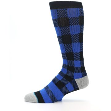 Image of Black Blue Checkered Men's Casual Socks (side-2-11)