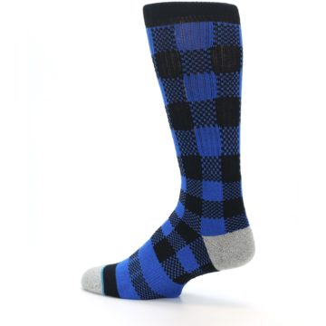 Image of Black Blue Checkered Men's Casual Socks (side-2-13)