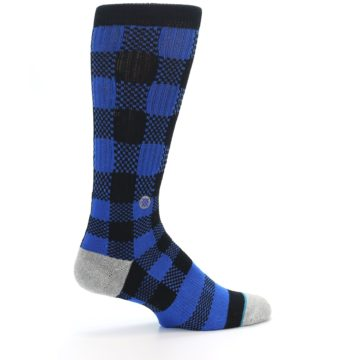 Image of Black Blue Checkered Men's Casual Socks (side-1-23)