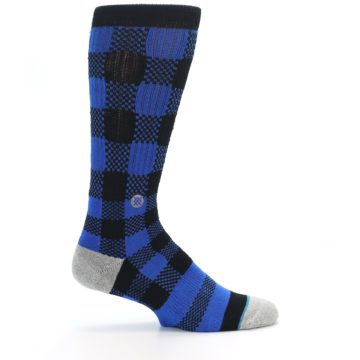 Image of Black Blue Checkered Men's Casual Socks (side-1-24)