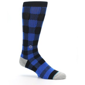 Image of Black Blue Checkered Men's Casual Socks (side-1-26)