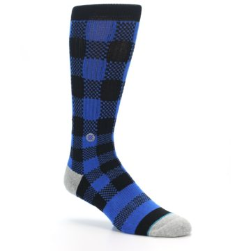 Image of Black Blue Checkered Men's Casual Socks (side-1-27)