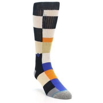 Image of Black Orange Blue Check Men's Casual Socks (side-1-front-02)