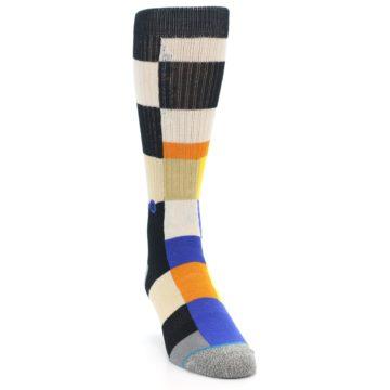 Image of Black Orange Blue Check Men's Casual Socks (side-1-front-03)