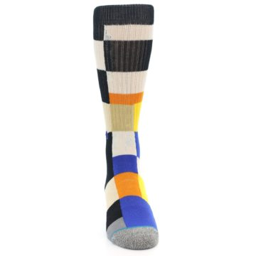Image of Black Orange Blue Check Men's Casual Socks (front-04)