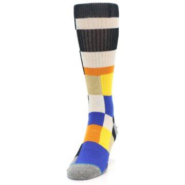 Image of Black Orange Blue Check Men's Casual Socks (side-2-front-06)