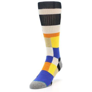 Image of Black Orange Blue Check Men's Casual Socks (side-2-front-07)
