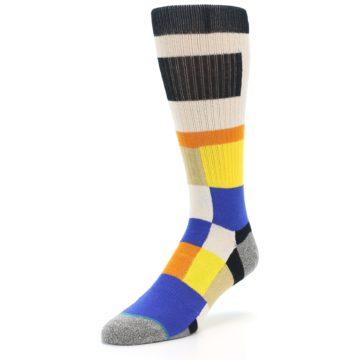 Image of Black Orange Blue Check Men's Casual Socks (side-2-front-08)