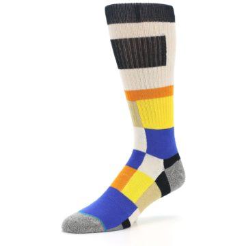 Image of Black Orange Blue Check Men's Casual Socks (side-2-09)