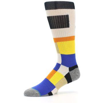 Image of Black Orange Blue Check Men's Casual Socks (side-2-10)