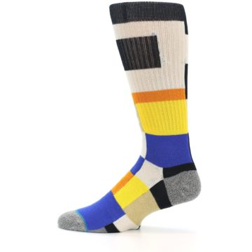 Image of Black Orange Blue Check Men's Casual Socks (side-2-12)