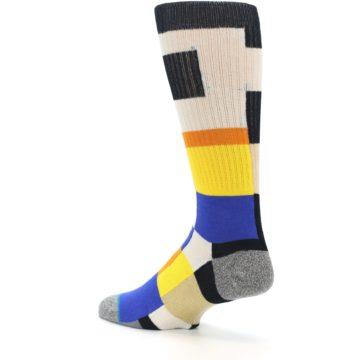Image of Black Orange Blue Check Men's Casual Socks (side-2-back-14)