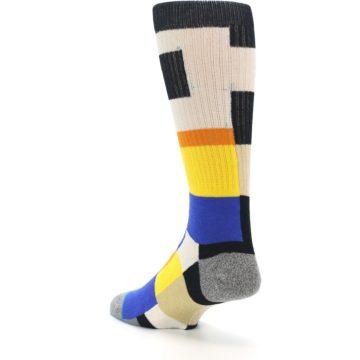 Image of Black Orange Blue Check Men's Casual Socks (side-2-back-15)
