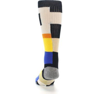 Image of Black Orange Blue Check Men's Casual Socks (back-17)