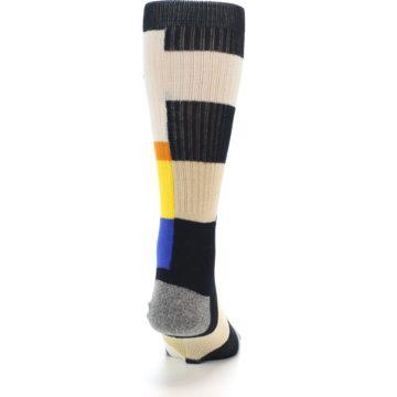 Image of Black Orange Blue Check Men's Casual Socks (back-19)