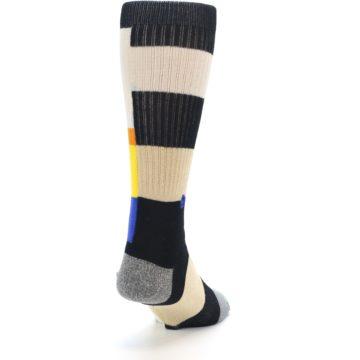 Image of Black Orange Blue Check Men's Casual Socks (side-1-back-20)