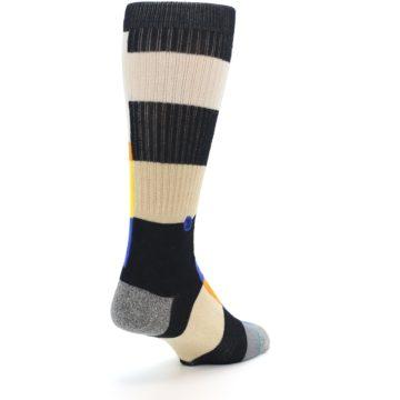 Image of Black Orange Blue Check Men's Casual Socks (side-1-back-21)