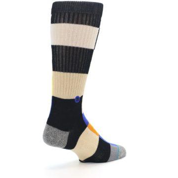 Image of Black Orange Blue Check Men's Casual Socks (side-1-back-22)